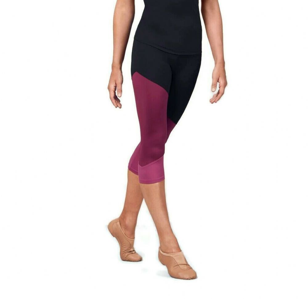 BLOCH Ladies Crop Capri Leggings with Colour Panels Gym Dance Fitness FP5195
